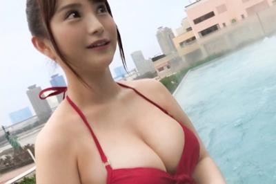 【スパプールナンパ】G乳爆乳受付嬢!!23歳同期入社の美人受付嬢とギャラ…